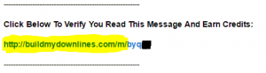 BuildMyDownlines credit link in an email
